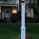 White Outdoor Lamp Post With Outlet
