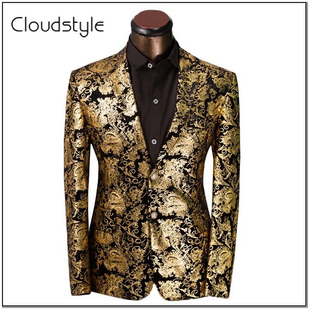 Black And Gold Floral Suit Jacket