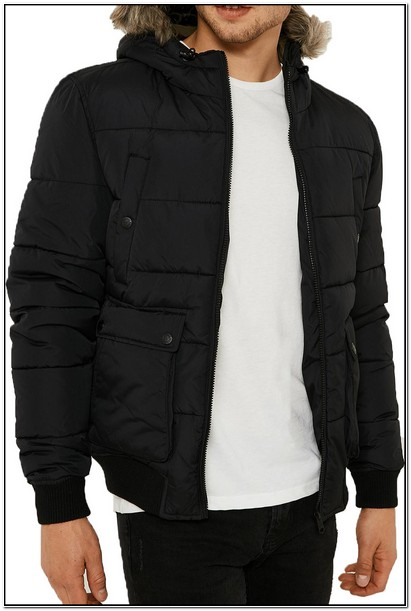 Black Puffer Jacket With Fur Hood Mens