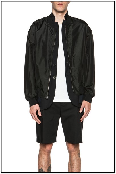Black Silk Bomber Jacket Mens