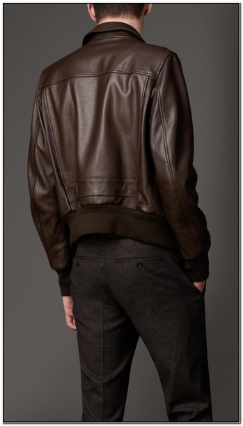 Burberry Mens Dark Brown Leather Jacket