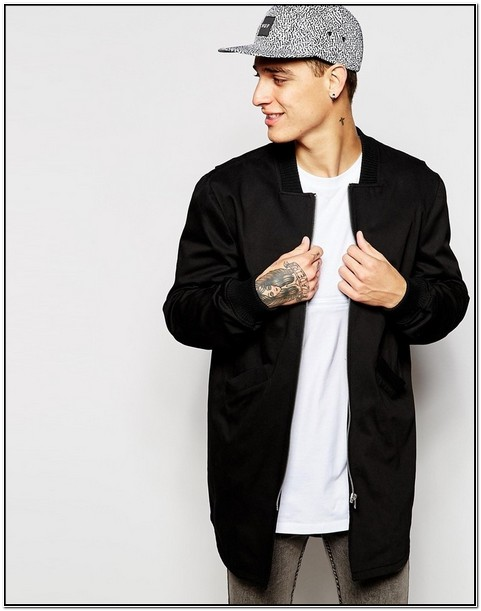 Grey Longline Bomber Jacket Mens