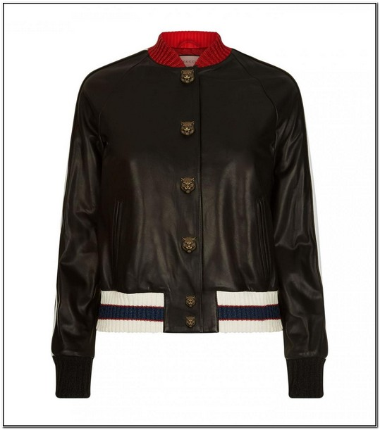 Gucci Leather Bomber Jacket Womens