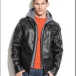 Guess Mens Faux Leather Hooded Moto Jacket
