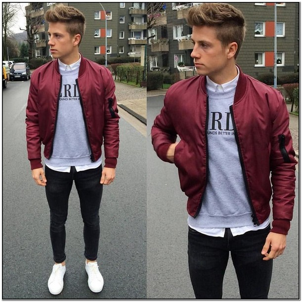 Maroon Bomber Jacket Mens Outfit