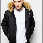 Mens Bomber Jacket With Faux Fur Collar