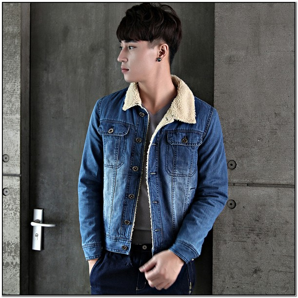 Mens Jean Jacket With White Fur