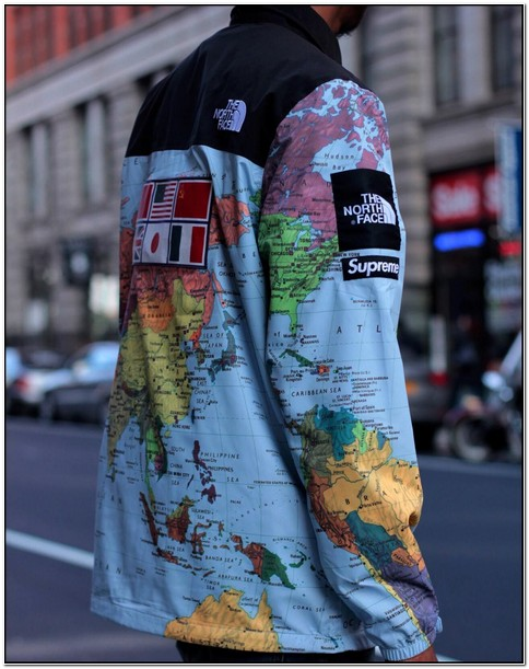 North Face Supreme World Map Jacket
