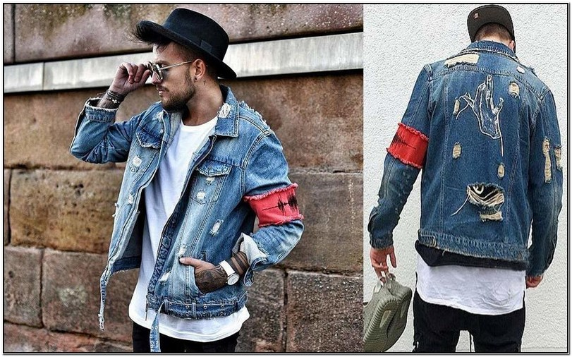 Ripped Blue Jean Jacket Mens