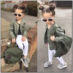 Toddler Girl Green Bomber Jacket