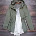 Womens Olive Green Utility Jacket With Hood